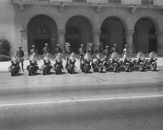 Motorcycle Police in front of Civic Auditorium, c. 1950 (1997-300-2299)